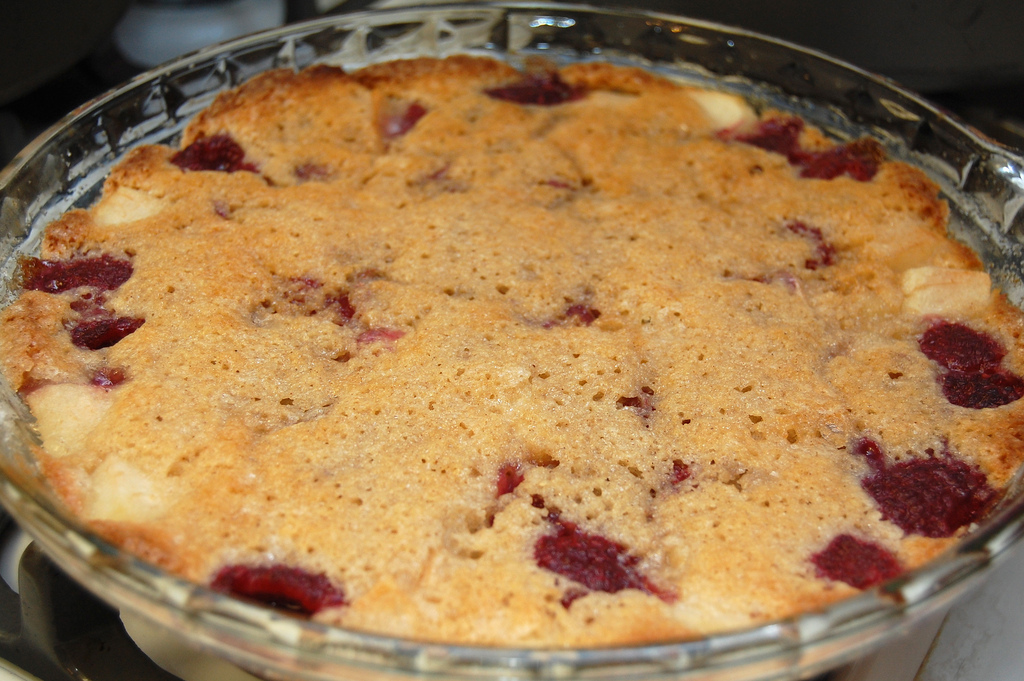 Pear and Raspberry Cobbler, and a note about portions | CSA for Three