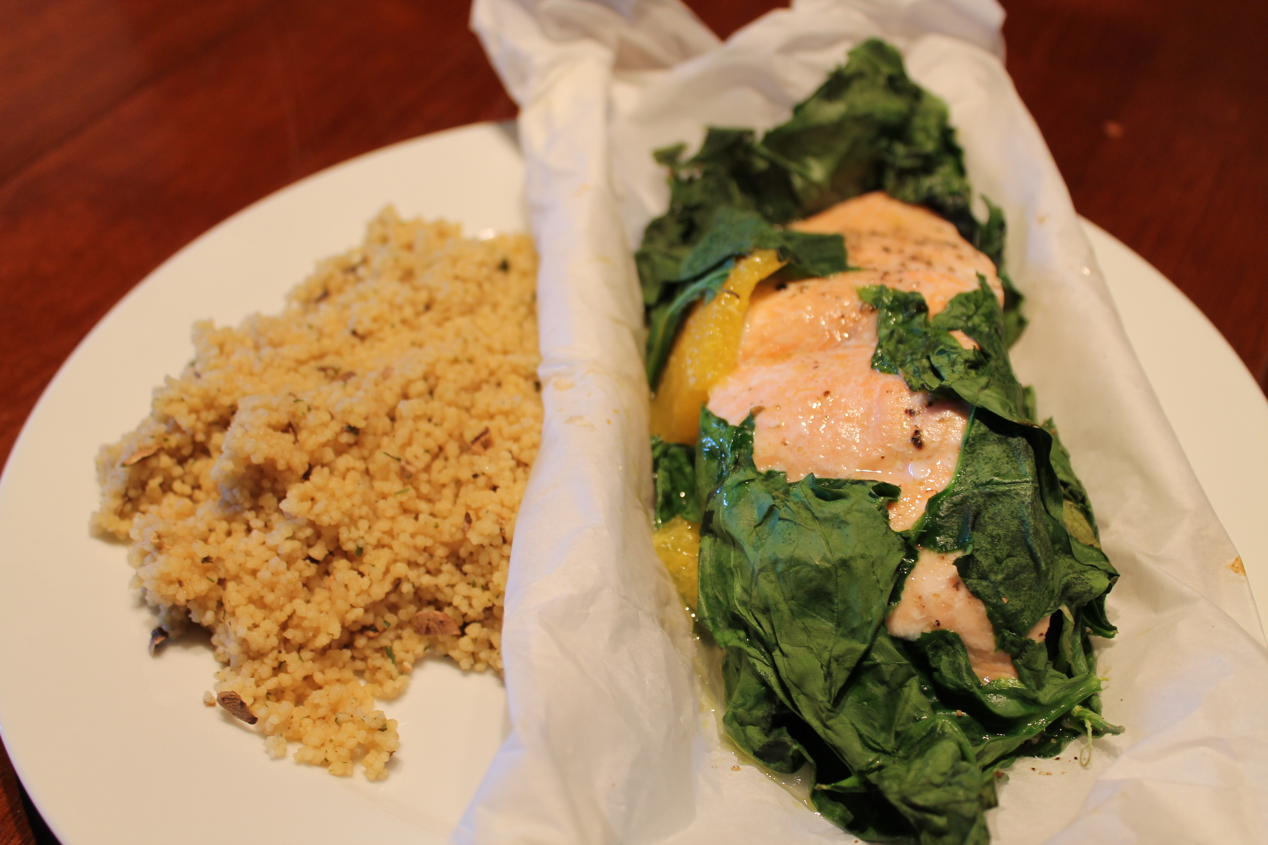 Orange Salmon and Spinach in Parchment | CSA for Three