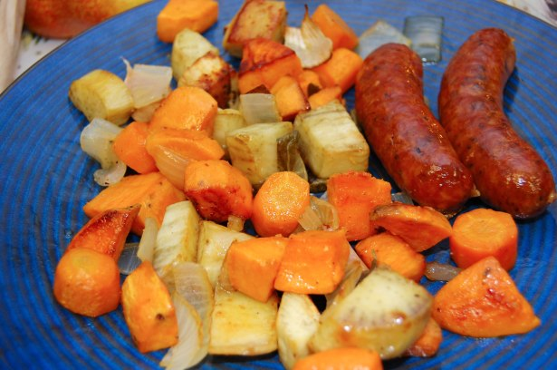 Roasting Pan Sausage and Root Vegetables with Crispy Sage